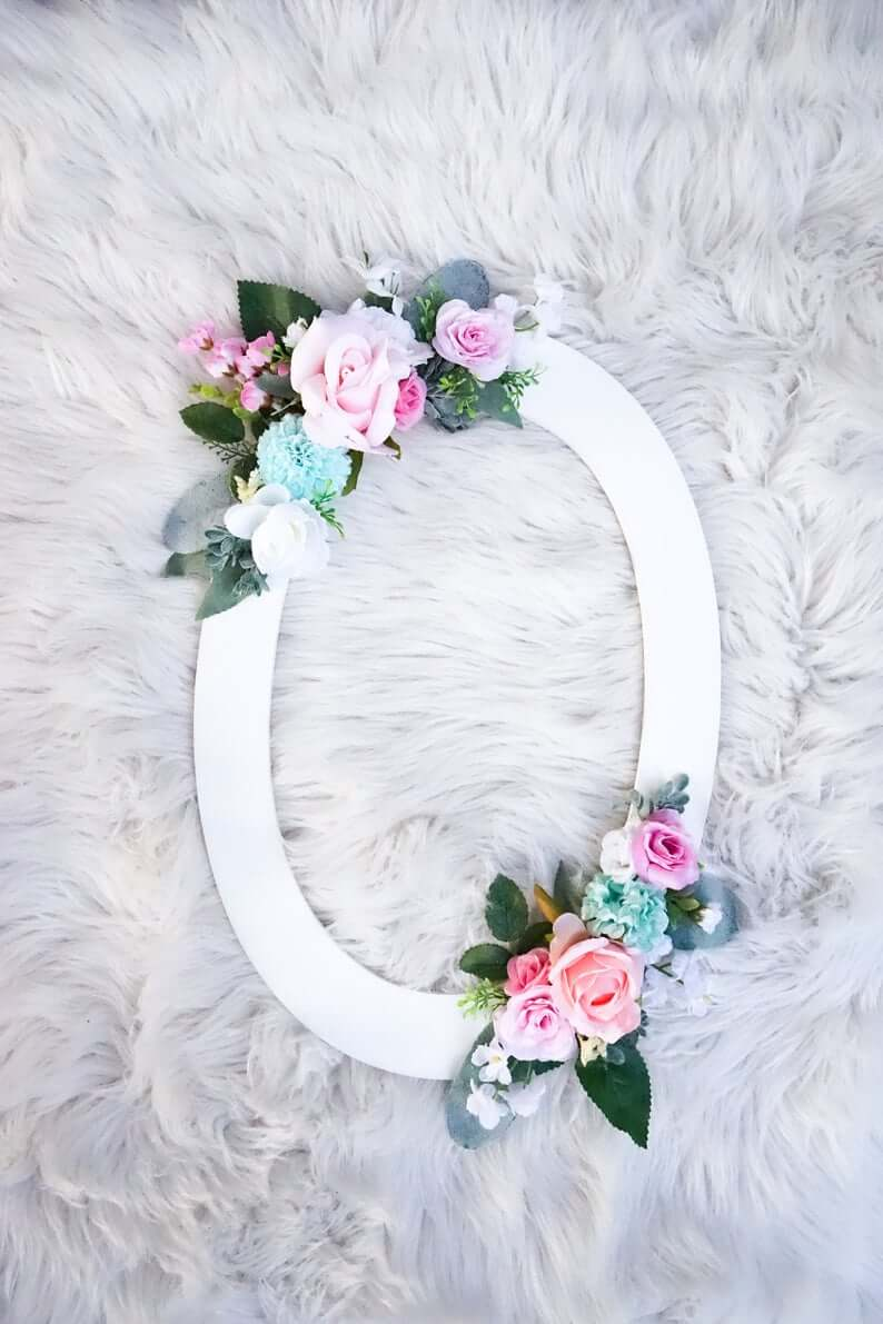 Painted Wooden Letter Accented with Floral Cluster