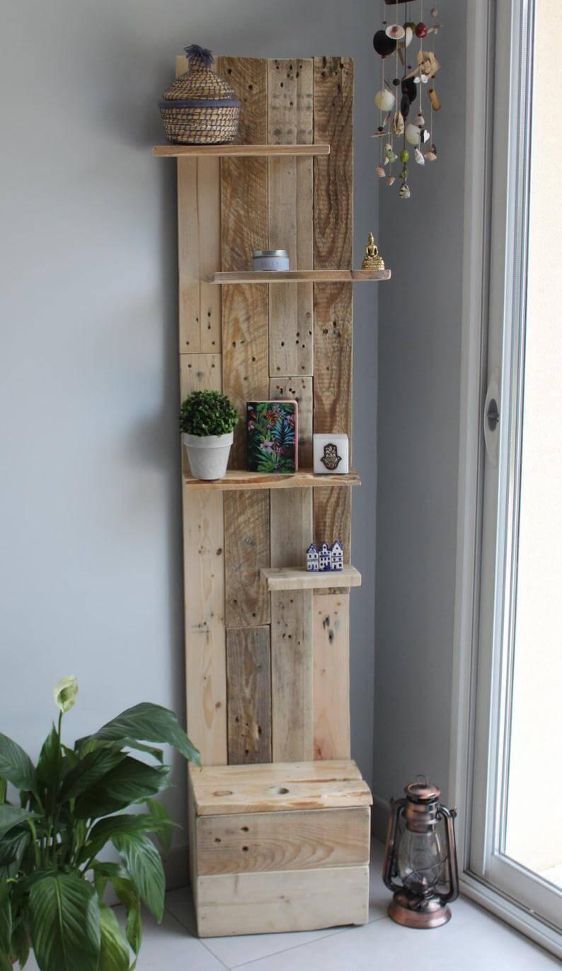 Pallet Shelf with Storage Chest