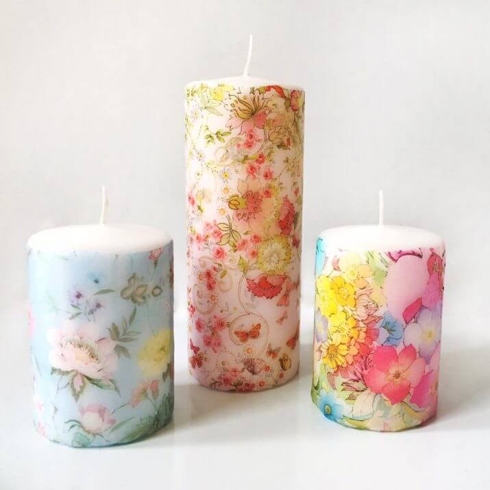 Creative Colorful Decoupage Candle Décor