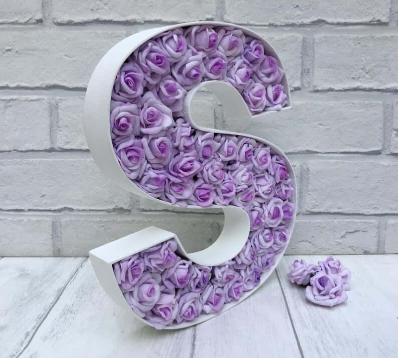 White Metal Letter Full of Lavender Flowers