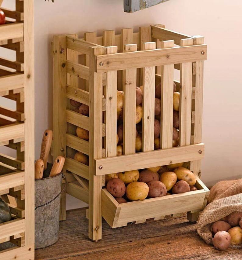 Pallet Kitchen Vegetable Crate Organizer