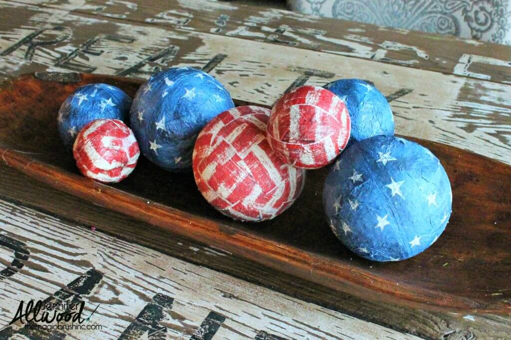 Fourth of July Holiday Decoupage Centerpiece