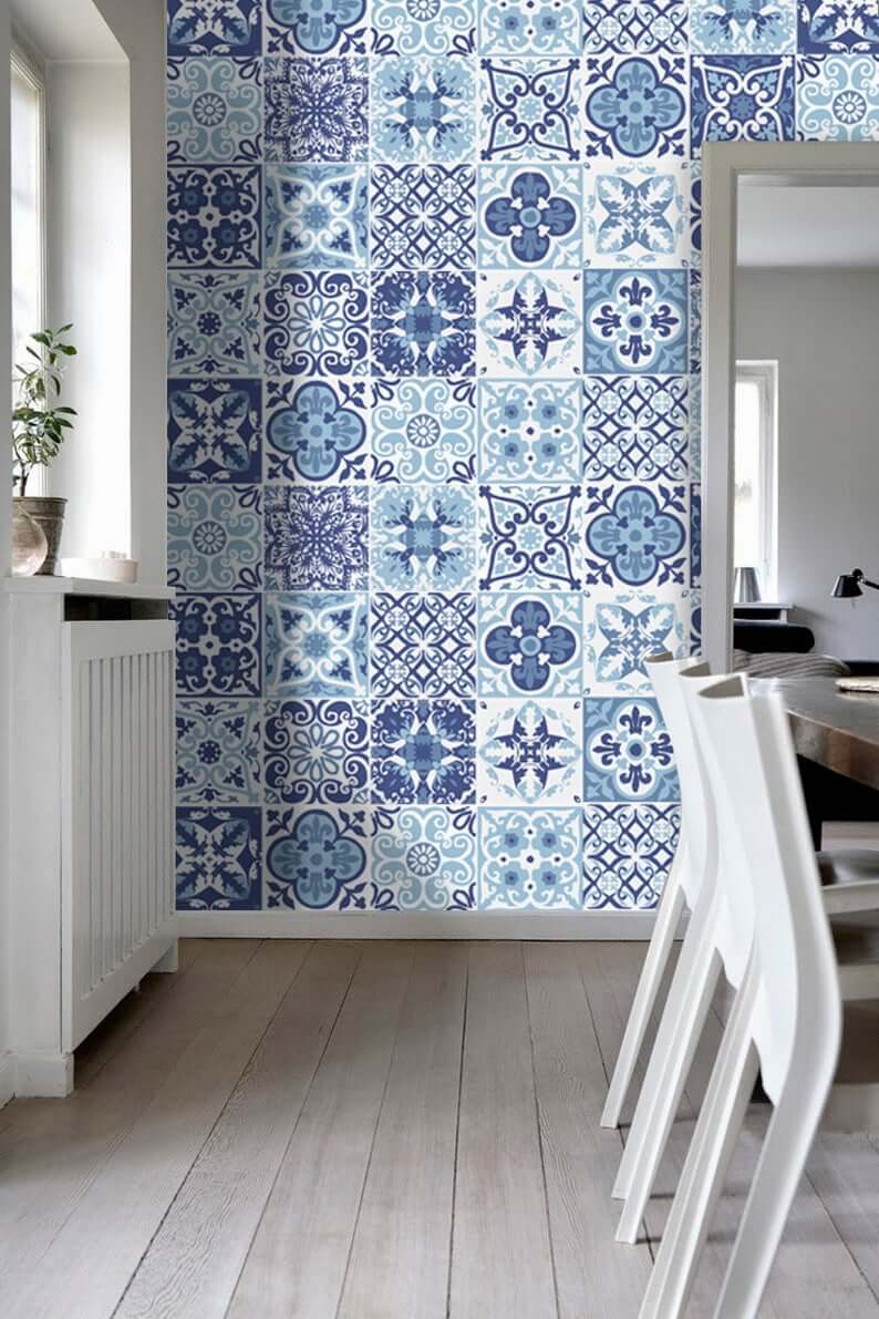 Mixed Tiles Wall Paper Design in Blue and White