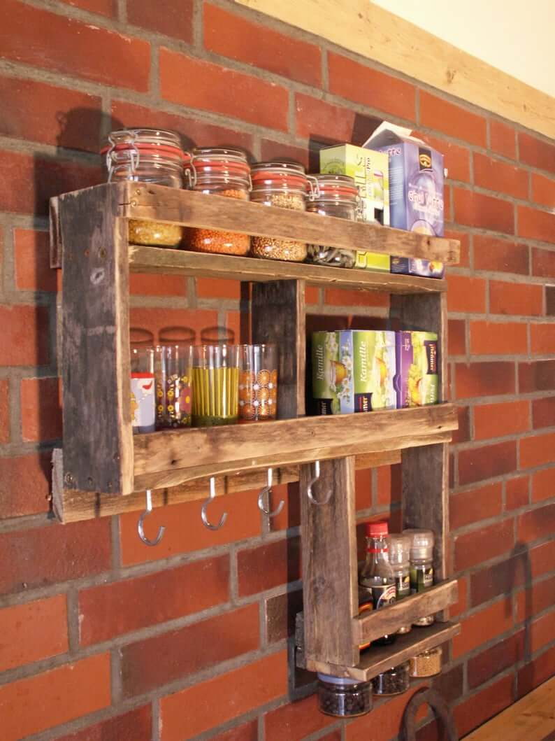 L-Shaped Pallet Wood Kitchen Organizer