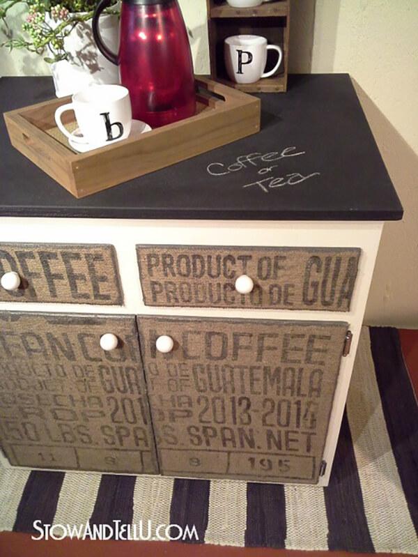 DIY Burlap Decoupage Coffee Cabinet