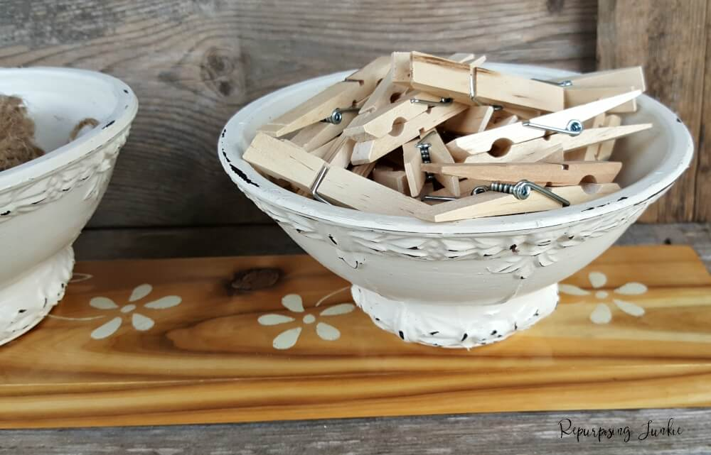 Distressed Bowl Full of Clothespins