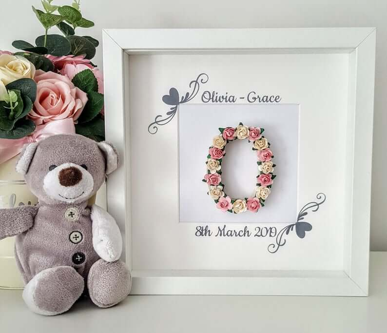 One-of-a-kind Floral Letter Birth Announcement