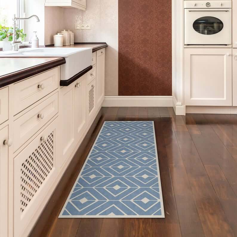 Rectangular Rug Runner Geometric Blue and White