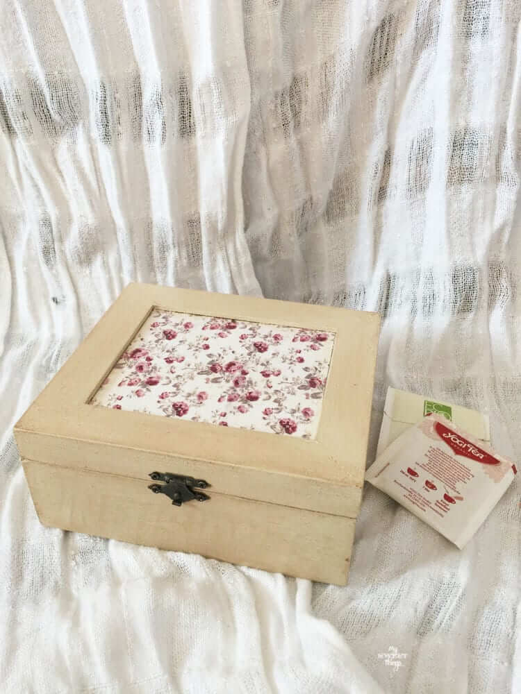 Wooden Tea Box with Floral Inset