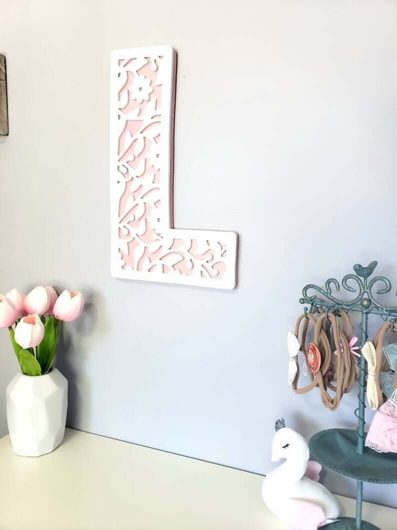 Lattice Letter Floral Vine Unique Wall Art