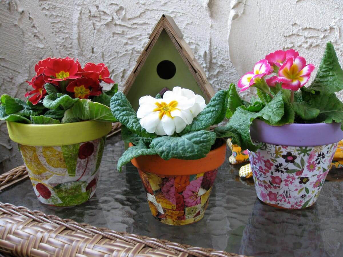 Brightly Colored Decoupage Flower Pots