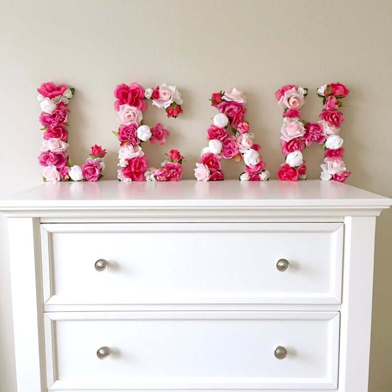 Bright Fuchsia and White Name Letters