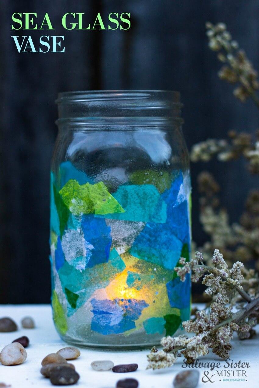 Decoupage Tissue Paper Sea Glass Vase