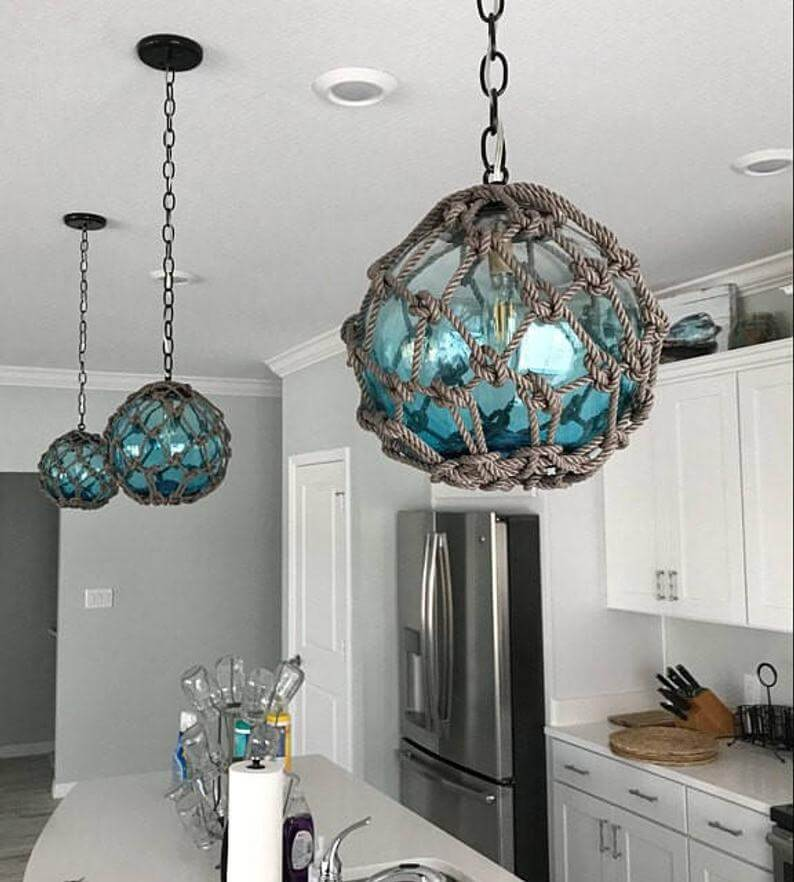 Glass Blue with Sea Knotted Pendant Light Fixture