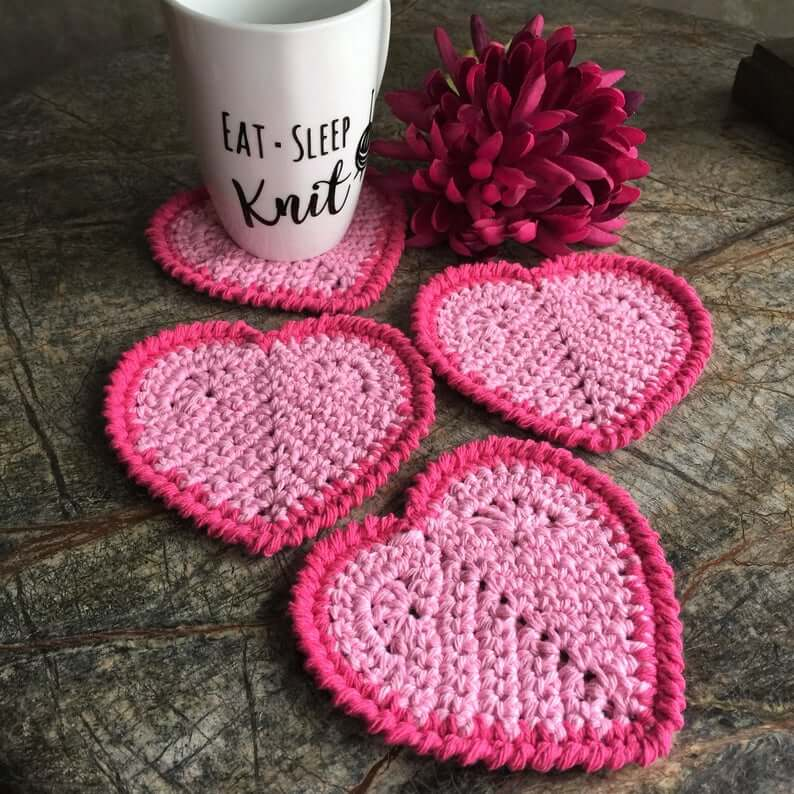 Pink Hearts Crocheted with Love