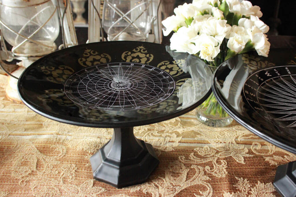 Elegant Decoupage Glass Serving Platters