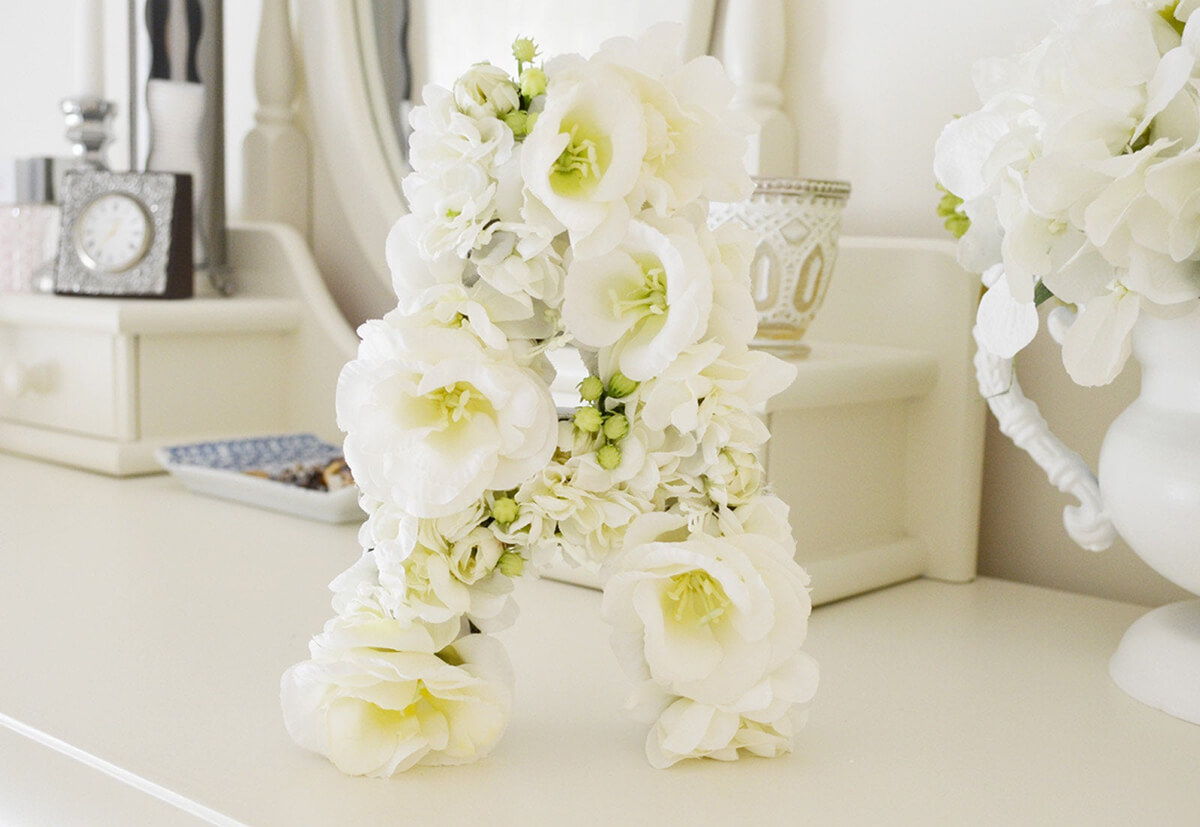 Natural Look and Feel White with Green Blooming Letter
