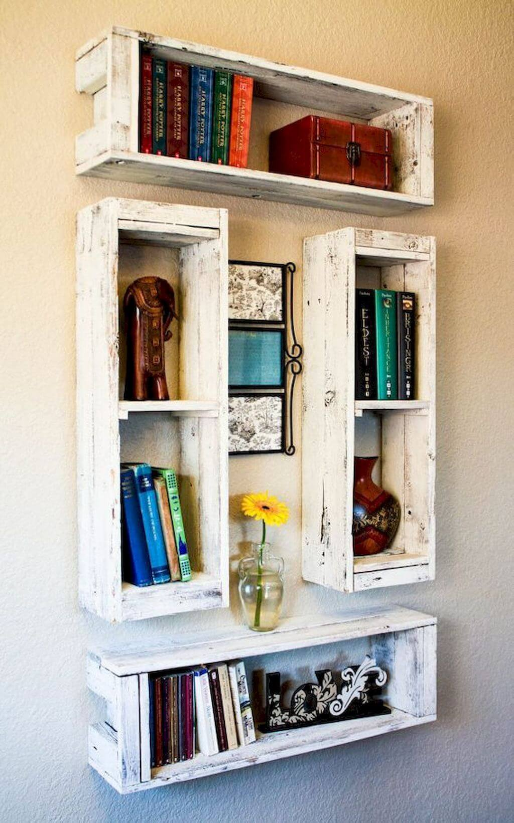 Stackable Wooden Crate-Style Display Shelves