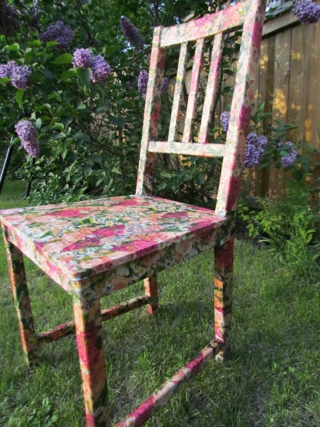 Floral Patterned Decoupage Wooden Chair