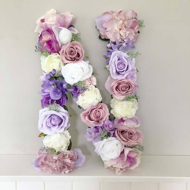Delicate Purple and Blue Floral Letter