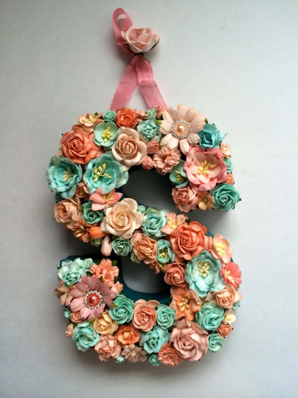 Ribbon Hung Foam Flower Studded Letter