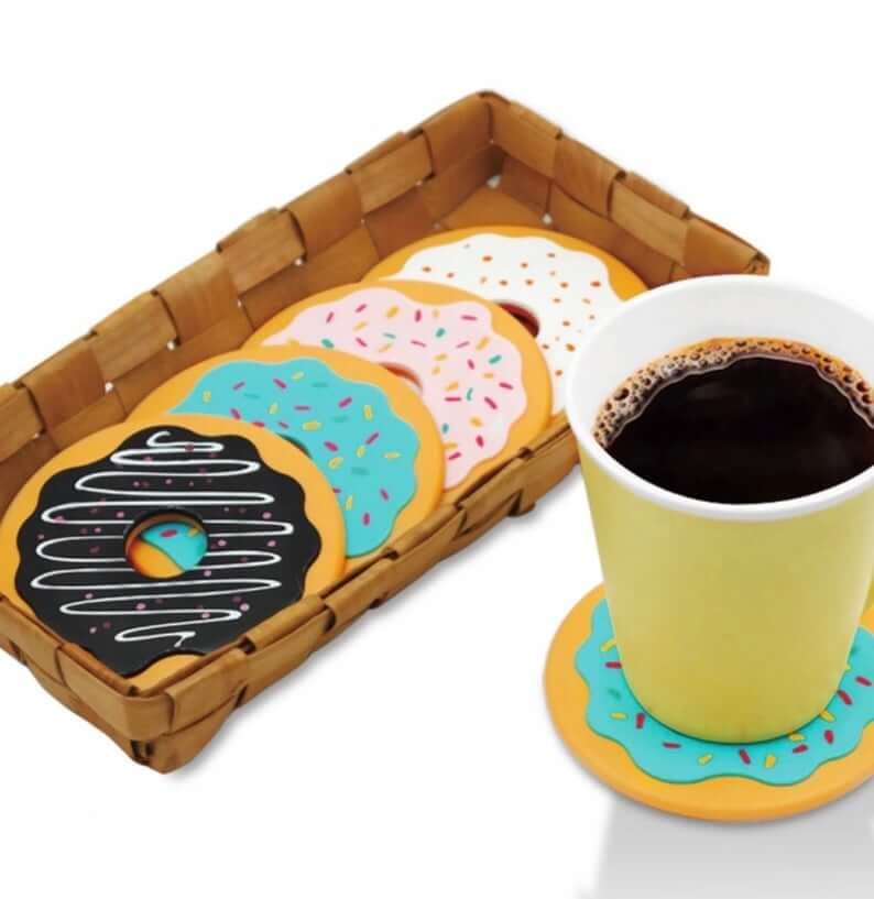 Donut Coasters Can't Resist Coffee