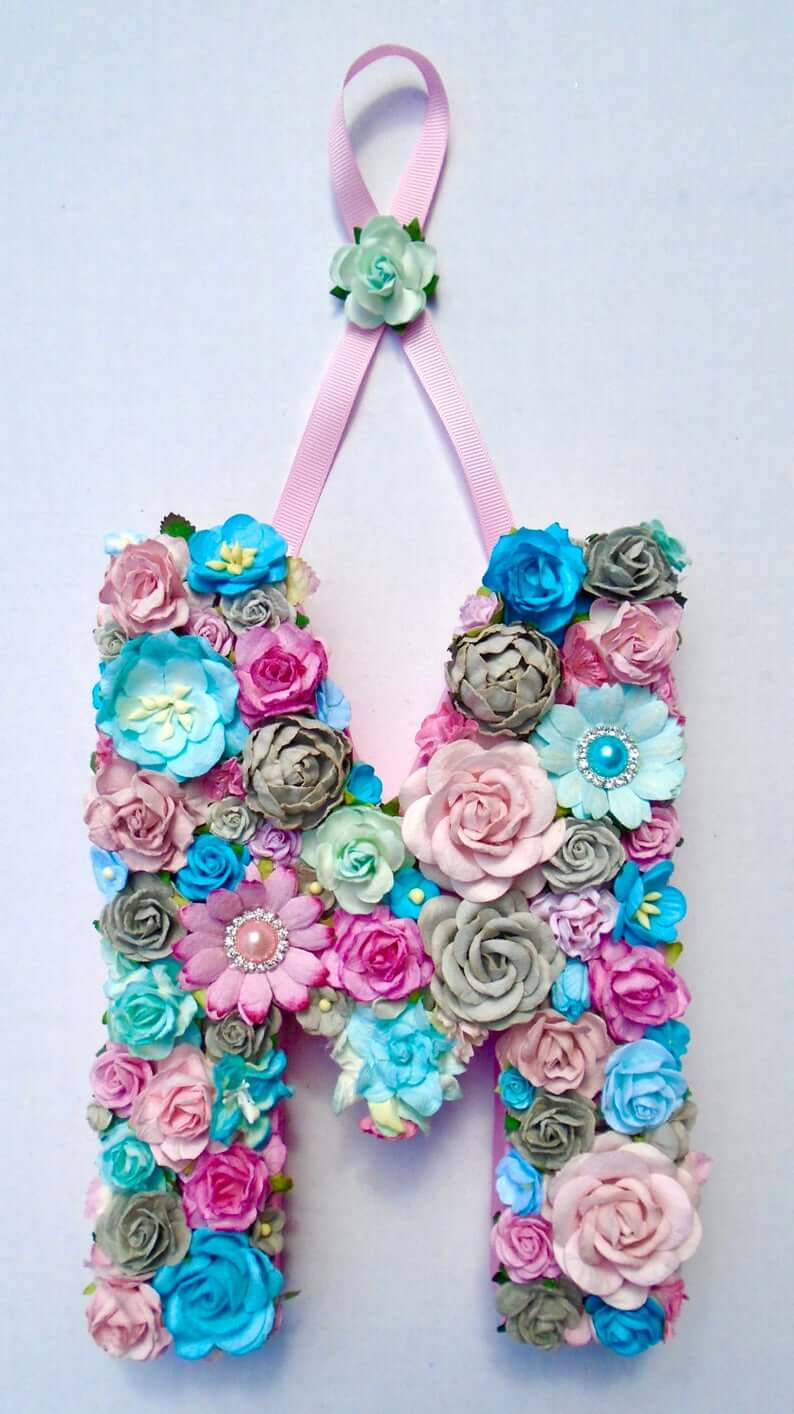 Full Floral Blue and Pink Letter Hung on Pretty Ribbon