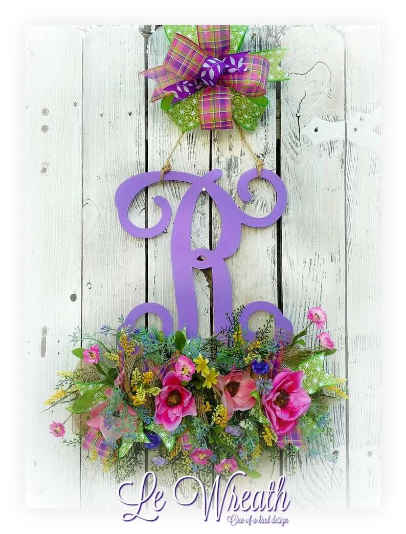 Floral Spring Spray and Script Letter with Big Bow