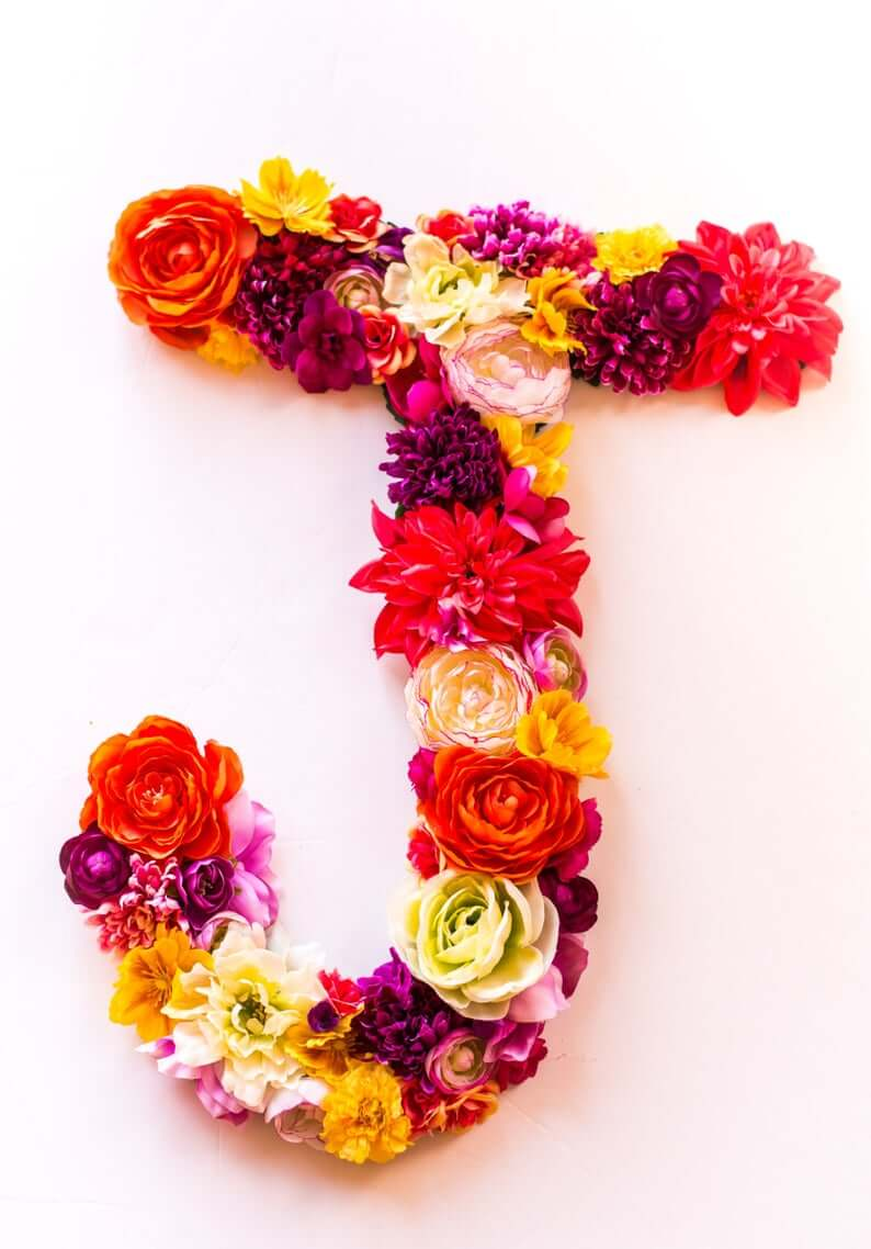 Vibrant and Vivid Fruit Punch Mixed Flowers Letter Wall Art