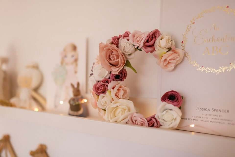 Mauve and Cream Wedding Centerpiece Floral Letter