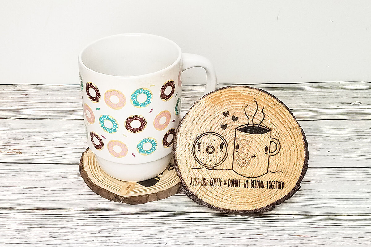 Wooden Rounds Sittin' Comfy for Donuts & Coffee