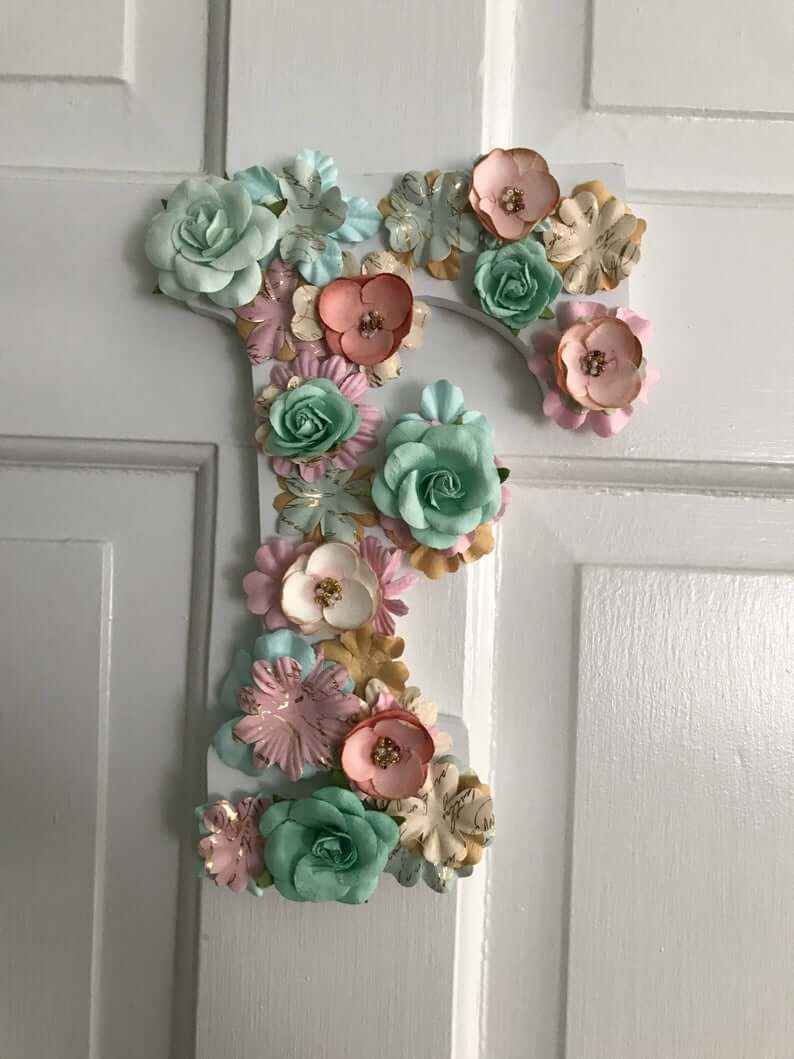Green, Pink and Gold Flower Letter Design