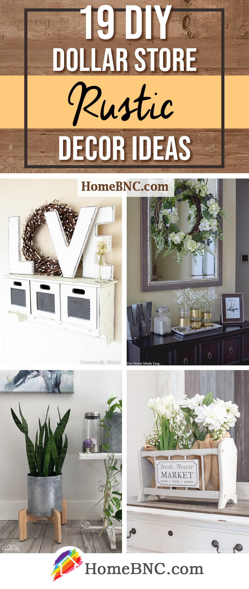 30 Best DIY Dollar Store Rustic Home Decor Ideas for 30