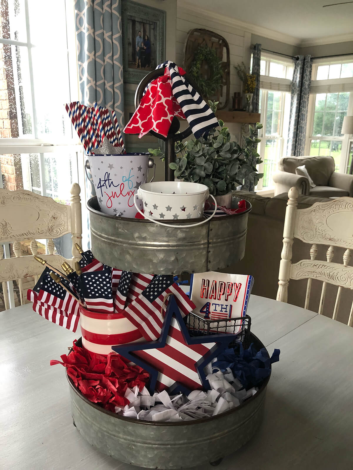 Multi-Tiered Tray Stuffed with Patriotic Goodies