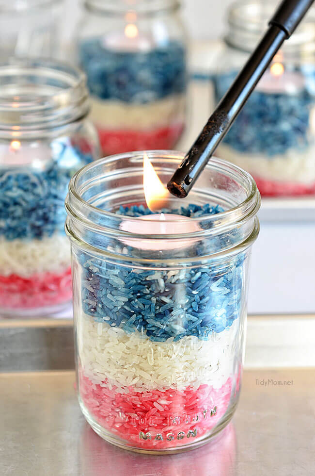 Red White and Blue Rice Jar Candles