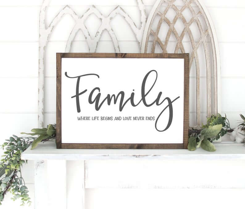 Modern Farmhouse Wooden Frame Family Life and Love Sign