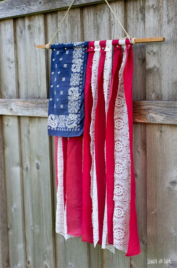 Folksy American Flag made of Fabric Scraps