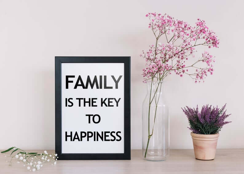 Black and White Contemporary Plain Family is the Key to Happiness Sign