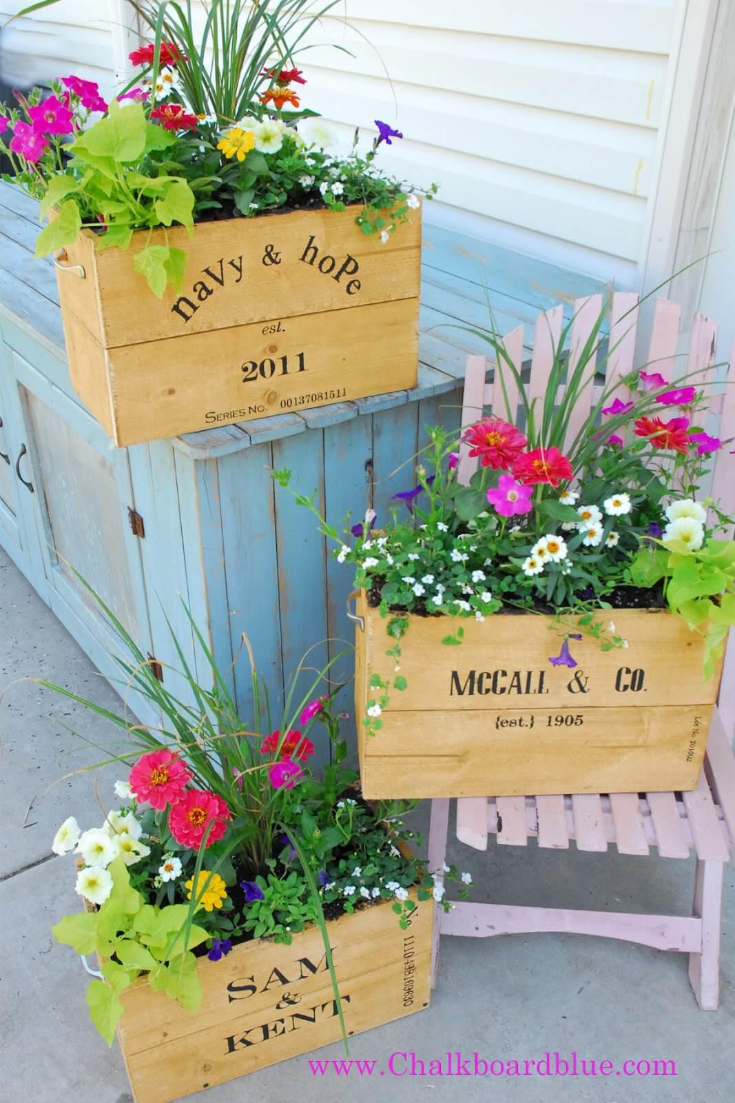 DIY Vintage Wooden Crate Planters
