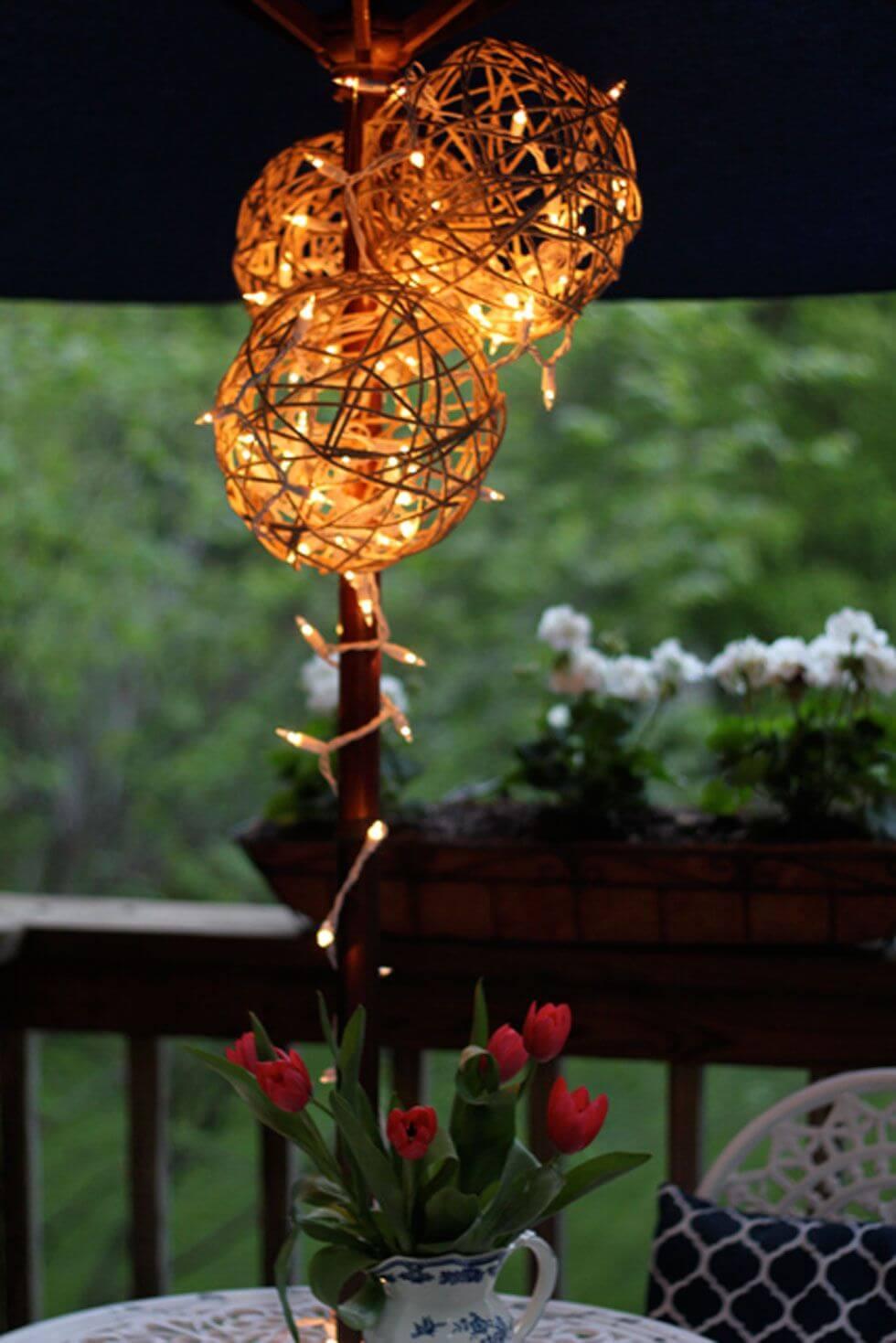 DIY Outdoor Wooden Sphere Twinkle Lights Display