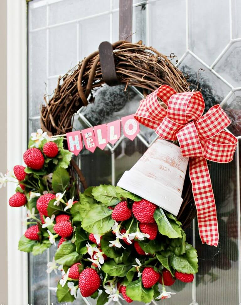 Colorful Country-Chic Strawberry Wreath