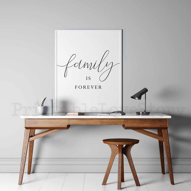 Family is Forever Clean White Sign