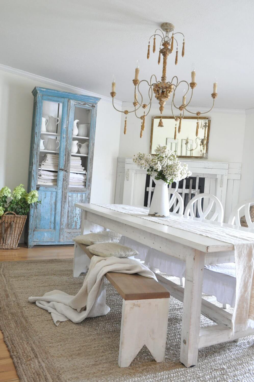 White Farmhouse Dining Table with Bench Seating
