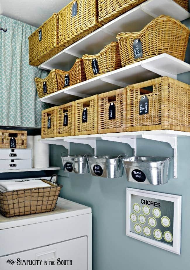 Open Shelf Laundry Storage with Baskets