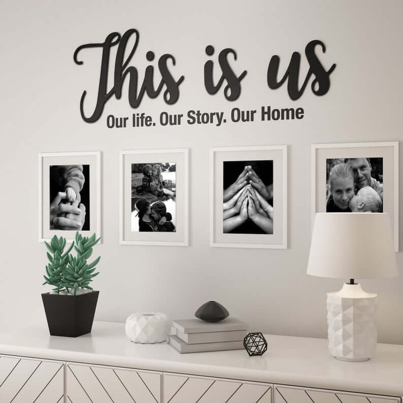 This is Us Wall Photos Title in Black Lettering