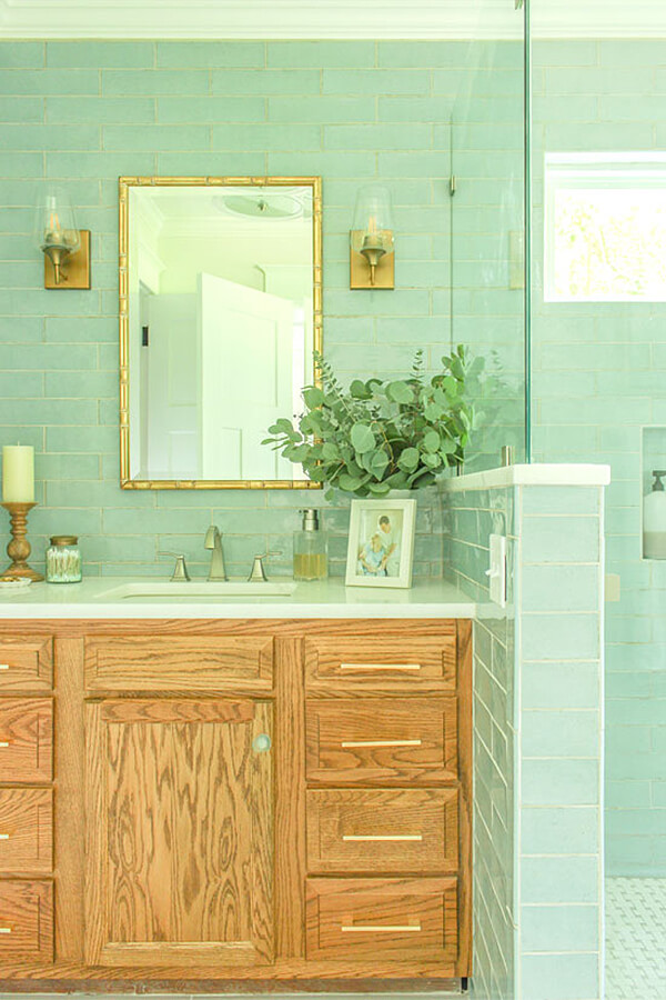 Sea Blue Glass Subway Tile for Lake House Bathroom