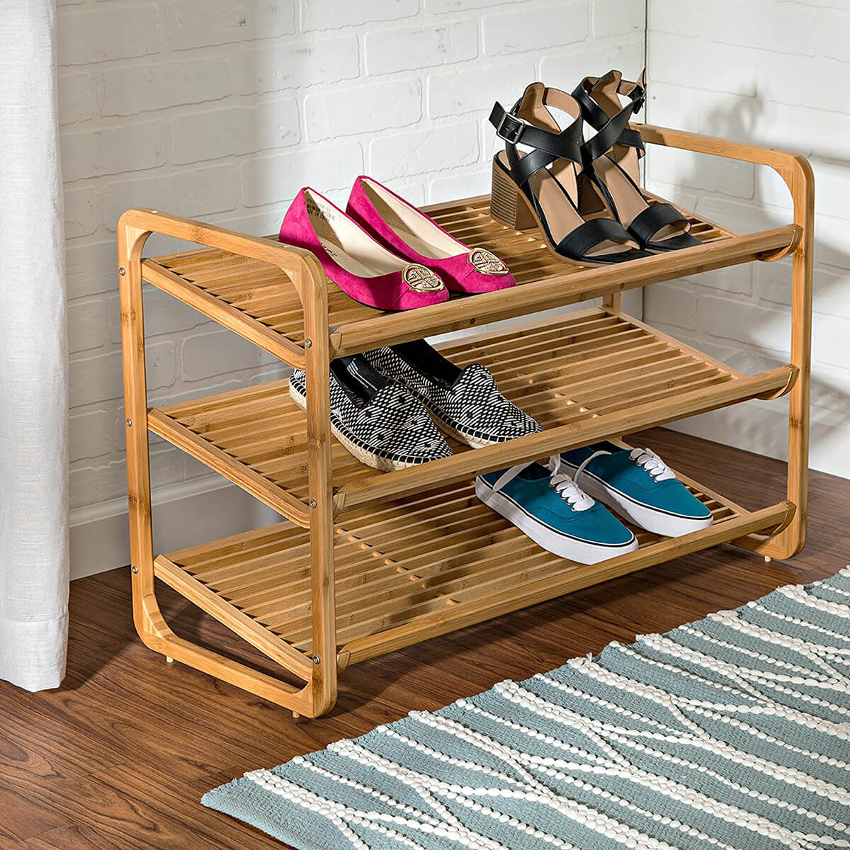 Natural Bamboo Three-Tier Shoe Organizer