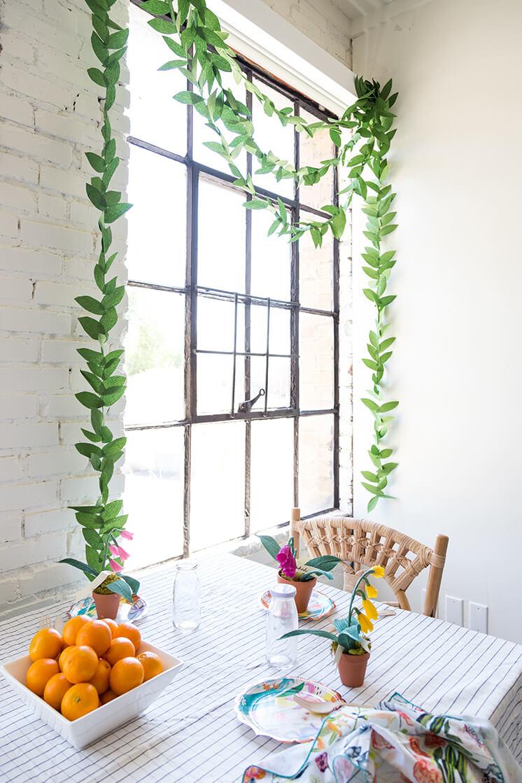 DIY Crepe Paper Leaf Garland