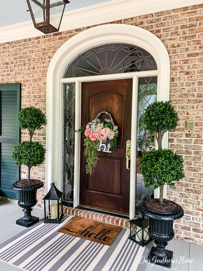 Artificial Topiaries in Painted Urns