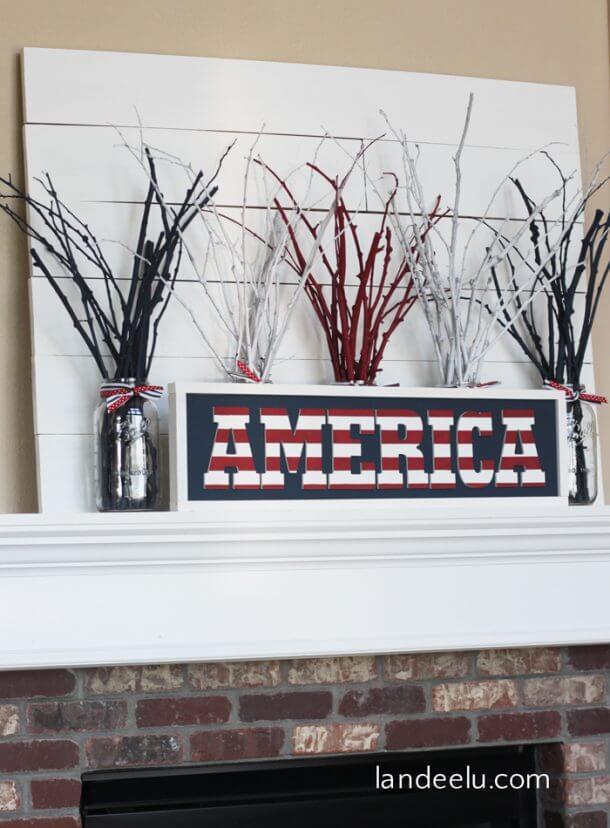 Bold Framed America Sign Art